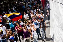 23-01-2019 Venezuelan Protestants take to the streets to express their discontent at the illegitimate takeover of Nicolas Maduro royalty free stock image