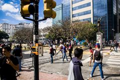23-01-2019 Venezuelan Protestants take to the streets to express their discontent at the illegitimate takeover of Nicolas Maduro stock images