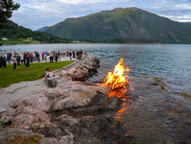 Midsummer bonfire in Norway Royalty Free Stock Photo
