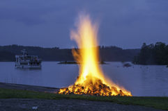 Midsummer bonfire in Savonlinna, Finland Stock Images