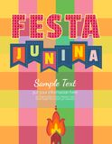 Midsummer bonfire text. Festa Junina Latin American holiday. Festive party text flyer template. Traditional Brazil June folklore festival event colorful Royalty Free Stock Images