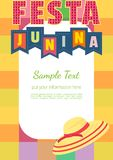 Midsummer bonfire text. Festa Junina Latin American holiday. Festive party text flyer template. Traditional Brazil June folklore festival event colorful Stock Images