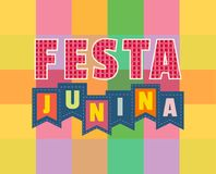 Midsummer bonfire text. Festa Junina Latin American holiday. Traditional Brazil June folklore festival party. Fancy cartoon letters on flags. Greeting text on Royalty Free Stock Photos