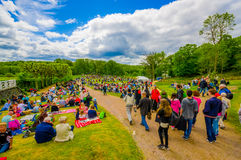 Midsummer celebration in Gothemburg, Sweden. GOTHENBURG, SWEDEN - JUNE 19, 2015: Visitors celebrating traditional Midsummer celebration in Gunnebo Castle Royalty Free Stock Photography