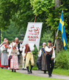 Midsummer celebrations with Slagsta Gille in Hagelbyparken, botkyrka. Slagsta Gille consists of musicians and dancers who play old Royalty Free Stock Photography