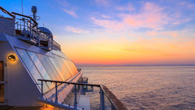 Midsummer on a cruise ship. Sunrise in Summer on a North Sea cruise to Norway Stock Photo