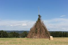 for a midsummer festival bonfire on a very sunny day in august i stock image