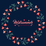 Midsummer floral frame, Jacobean flowers wreath Royalty Free Stock Photos