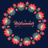 Midsummer floral frame, Jacobean flowers wreath Royalty Free Stock Photography