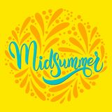 Midsummer hand drawn ettering. Midsummer lettering. Elements for invitations, posters greeting cards Royalty Free Stock Photo