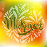 Midsummer hand drawn ettering. Midsummer lettering. Elements for invitations, posters greeting cards Royalty Free Stock Image
