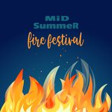 Midsummer holiday fire festival poster. Bonfire night. Colorful cartoon flame sign. Burning flaming campfire. Fireplace in summer camp party banner template Stock Photos