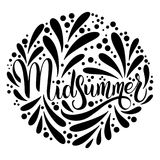 Midsummer hand drawn ettering. Midsummer lettering. Elements for invitations, posters greeting cards Stock Photography