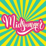 Midsummer hand drawn ettering. Midsummer lettering. Elements for invitations, posters greeting cards Royalty Free Stock Photography