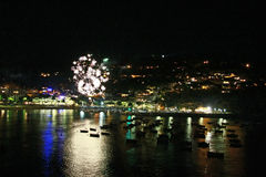 Midsummer night fireworks by the sea Stock Photography