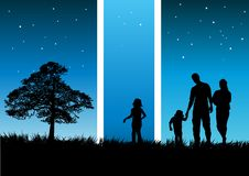 Midsummer Night's Dream. Concept illustration of a family walking on a warm evening Stock Image