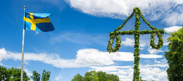Midsummer traditional Swedish symbols. In panorama Royalty Free Stock Image