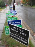 Midterm Election Signs in November royalty free stock image