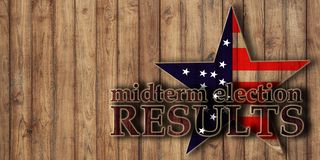 Midterm election voting results, text on wooden background. And usa flag in star shape stock photo