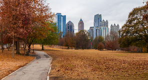 Midtown Atlanta and Oak Hill in Piedmont Park, USA. Panoramic view of the Oak Hill in the Piedmont Park and Midtown Atlanta behind it in autumn day, USA Royalty Free Stock Images