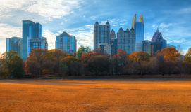 Midtown Atlanta and Piedmont Park, USA. Panoramic view of the Active Oval in the Piedmont Park and Midtown Atlanta behind it in autumn day, USA Royalty Free Stock Photo