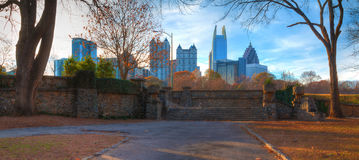 Midtown Atlanta and Piedmont Park, USA. Panoramic view of stone stairs in the Piedmont Park and Midtown Atlanta behind it in autumn day, USA Stock Image