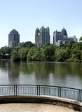 Midtown Atlanta Skyline. The Midtown Atlanta skyline as seen from a viewing platform overlooking a park lake Royalty Free Stock Photography