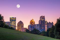 Midtown Atlanta skyline. From the park at sunset Stock Images