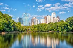Midtown Atlanta skyline from the park stock images