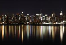 Midtown (costa Ovest) Manhattan alla notte Fotografia Stock Libera da Diritti