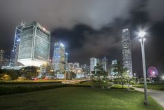 High rise modern office building in Hong Kong city Royalty Free Stock Images