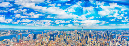 Midtown Manhattan aerial panoramic view at dusk, New York City Royalty Free Stock Images