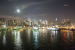 Midtown Manhattan coast at night Stock Photography