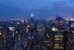 Midtown Manhattan and Empire State. Blue hour view of Midtown Manhattan, Empire State and skyscrapers Royalty Free Stock Image