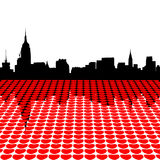 Midtown Manhattan with hearts Royalty Free Stock Photography