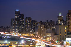 Midtown Manhattan highway illuminated Stock Photography