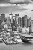 Midtown Manhattan and Intrepid bw Stock Photos