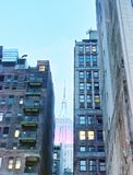 Midtown Manhattan night view of city buildings from the street Royalty Free Stock Image