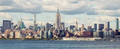 Midtown Manhattan Panorama. As seen from Jersey City, USA Royalty Free Stock Image