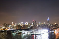 Midtown Manhattan piers at night Royalty Free Stock Image