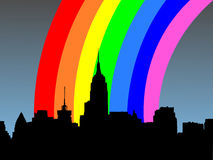 Midtown manhattan and rainbow Stock Images