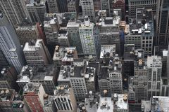 Midtown Manhattan rooftops with water storage tanks Royalty Free Stock Image