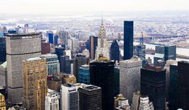 Midtown Manhattan Skyline. From up above including Rockefeller center and the Chrysler Building Royalty Free Stock Photography