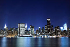 Midtown Manhattan Skyline At Night Stock Photography