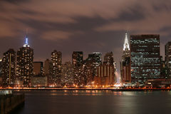 Midtown Manhattan skyline At Night Royalty Free Stock Images