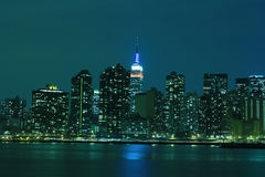 Midtown Manhattan skyline at Night Lights, NYC Royalty Free Stock Photos