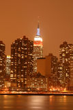 Midtown Manhattan skyline at Night Lights, NYC Stock Photo