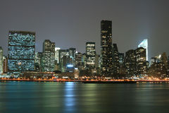 Midtown Manhattan skyline at Night Lights, NYC Stock Photos