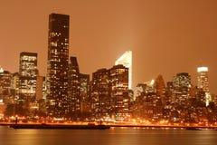 Midtown Manhattan skyline at Night Lights, NYC Stock Photo
