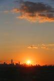 Midtown Manhattan skyline panorama at sunset Stock Photography